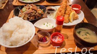 郡山フルカワ食堂のニラレバ&天とり定食