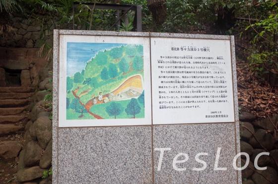 等々力渓谷の横穴墓の説明板