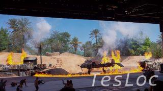 WDWハリウッドスタジオ「インディ・ジョーンズ」炎に包まれるプロペラ機