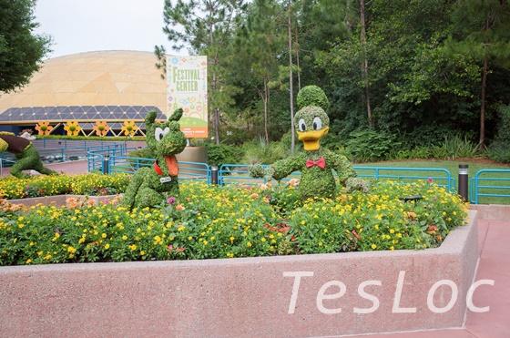 WDWエプコット「フラワー&ガーデンフェスティバル」イベントスペース前ドナルドプルート