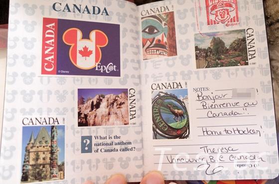 WDWエプコット「ワールドショーケース」カナダのパスポート